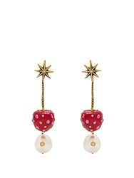 Gucci Cherry And Pearl Crystal Embellished Earrings Red
