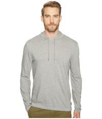 John Varvatos Striped Long Sleeve Pullover Knit Hoodie With Vertical Pickstitch Detail And Drawcord K3039t1b Grey Heather Men's Sweatshirt Gray