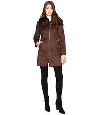 Cole Haan Signature Faux Shearling With Toscana Trim Brown Women's Coat