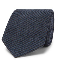 Berluti 6Cm Checked Wool And Mulberry Silk Blend Tie Blue