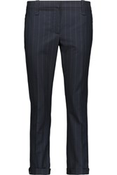 Brunello Cucinelli Cropped Pinstriped Wool Blend Tapered Pants Midnight Blue