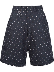 Undercover Printed Knee Length Shorts Blue