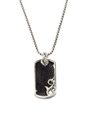 Stephen Webster Leather And Silver Dogtag Necklace Black