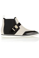 Nicholas Kirkwood Paneled Leather Point Toe Ankle Boots White