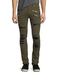 God's Masterful Children Distressed Slim Straight Jeans With Backing Army Green