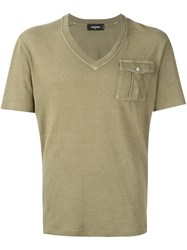 Dsquared2 Flap Pocket V Neck T Shirt Green