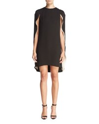 Halston Cape Back Cocktail Dress Black Champagne Multi