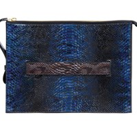 Kilani Lust Letter Size Document Holder Patent Snake Sapphire Blue