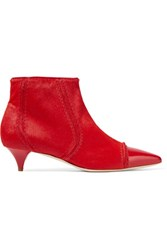 Moschino Patent Leather Trimmed Calf Hair Ankle Boots Red