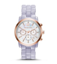 Michael Kors Audrina Rose Gold Tone And Clear Acetate Watch