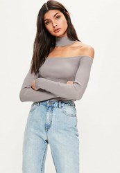 Missguided Grey Ribbed Choker Neck Cropped Jumper