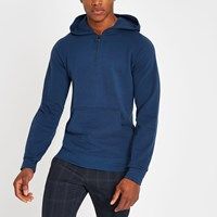 River Island Selected Homme Blue Zip Up Hoodie