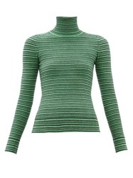 Joostricot Striped Roll Neck Cotton Blend Sweater Green Multi