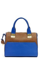 Hayden Harnett 'Sandrine' Saffiano Leather Satchel Brown Luggage Ultra Marine