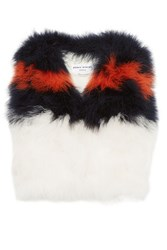Sonia Rykiel Striped Feather Gilet White