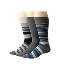 Cole Haan Town Stripe Crew 3 Pack Charcoal Heather Navy Charcoal Heather Oxford Heather Charcoal H Men's Crew Cut Socks Shoes Gray