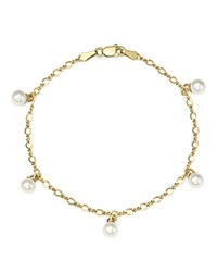 Bloomingdale's Cultured Freshwater Pearl Chain Bracelet In 14K Yellow Gold 5Mm 100 Exclusive White Gold