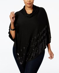 Belldini Plus Size Cowl Neck Sequined Poncho Black Black