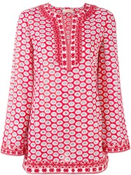 Tory Burch Floral Pattern Kaftan Women Cotton Polyester 12 Red