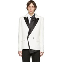 Balmain White And Black Crepe Double Breasted Blazer