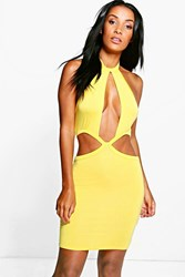 Boohoo Cut Out Detail Bodycon Dress Yellow