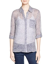 Diane Von Furstenberg Lorelei Two Polka Dot Sheer Silk Blouse Shagreen White