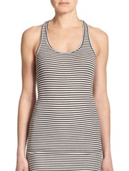 Atm Anthony Thomas Melillo Striped Racerback Tank Top Black Snow