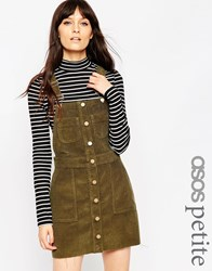 Asos Petite Denim Cord Mini Button Down Pinafore Dress In Olive Green Olivegreen