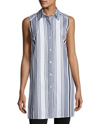 Joan Vass Striped Button Front Tunic White Black