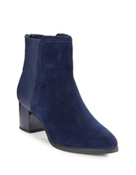 Bandolino Planta Leather And Suede Ankle Boots Navy Blue