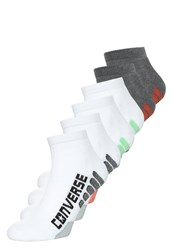 Converse 6 Pack Socks White Green Black Grey