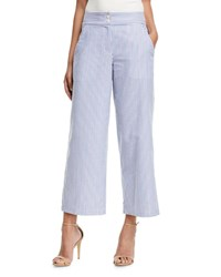 Emporio Armani Striped Cotton Wide Leg Cropped Pants Multi