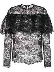 Gaelle Bonheur Sheer Lace Blouse With Frill Detail Polyester Black