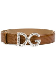 Dolce And Gabbana Logo Buckle Belt Women Leather 80 Brown
