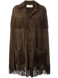 Saint Laurent Fringed Trim Cape Brown