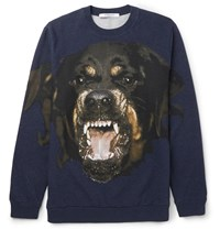 Givenchy Cuban Fit Printed Fleece Back Cotton Jersey Sweatshirt Blue
