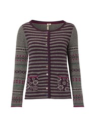 White Stuff Otto Fairisle Cardigan Purple