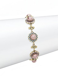 Heidi Daus Jeweled Faux Pearl Bracelet Rose Pink