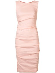 Nicole Miller Ruched Fitted Dress Pink Purple
