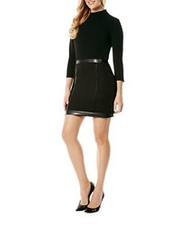 Laundry By Shelli Segal Faux Leather Accented Sheath Dress Black