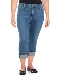 Nydj Plus Whiskered Denim Capri Jeans Blue