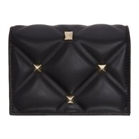 Valentino Black Garavani Candystud Flap French Wallet