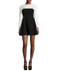 Cinq A Sept Serphina Two Tone Long Sleeve Mini Dress Black White Black White