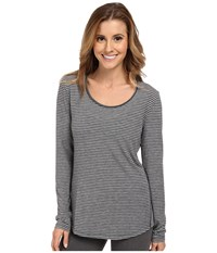 Lucy L S Workout Tee Fossil Asphalt Heather Stripe Women's Workout Gray