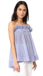 Lila.Eugenie Jesi Striped Frill Top Blue White