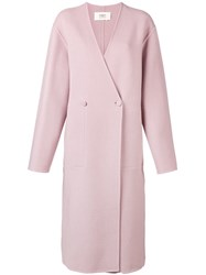 Ports 1961 Double Breasted Coat Pink And Purple