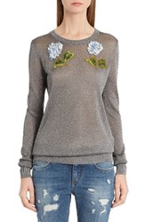 Dolce And Gabbana Women's Embellished Metallic Sweater Silver