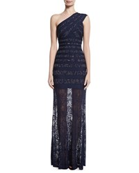 Herve Leger Karin One Shoulder Lace Bandage Gown Blue Pattern