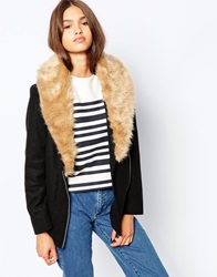Barney's Originals Coat With Deep Faux Fur Collar Black
