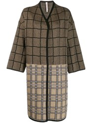 Antonio Marras Check Contrast Panel Coat Gold